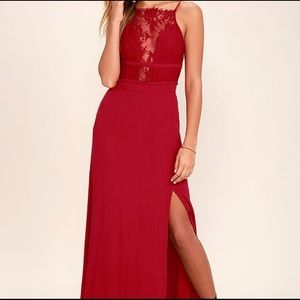 Red lace maxi dress by NBD
